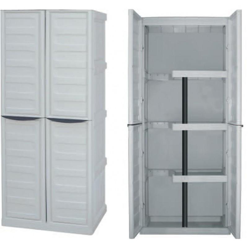 Πλαστική ντουλάπα με ράφια & χώρο για σκούπα Spazio S70/PS