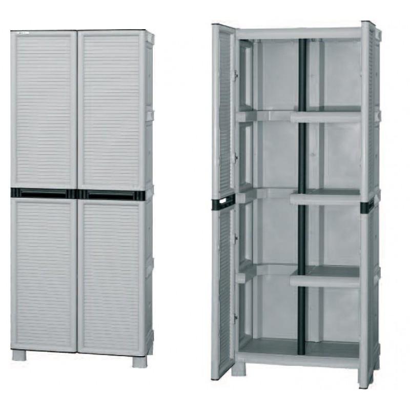Πλαστική ντουλάπα με ράφια & χώρο για σκούπα Concert C70/172PS